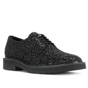 Giuseppe Zanotti G. Dragon Collab Black Glitter Derby Shoes Loafers 41 Authentic